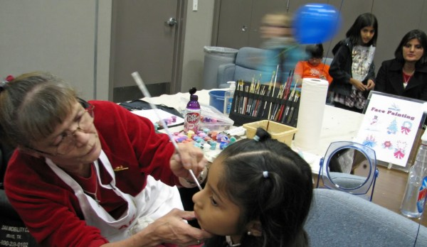 face painting at the Christmas Card Workshop Dec.. 2010