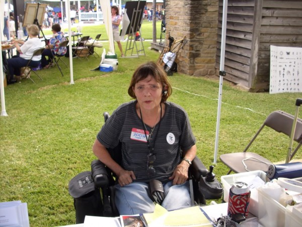 Beverly manning her booth at  the Irving Main Street Festival 2008