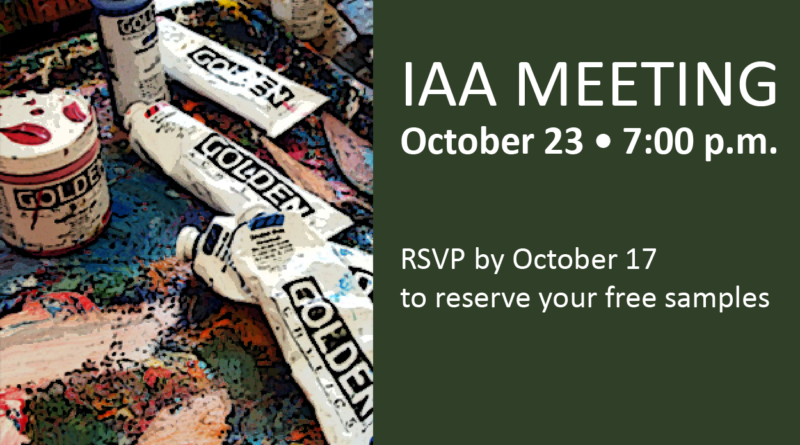 October 23 IAA Meeting: Justin Burns, Golden Art Representative
