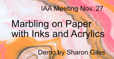 IAA Meeting Nov. 27: Sharon Giles: Marbling on Paper with Inks and Acrylics